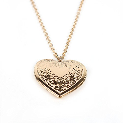 Ingooood Fashion Souvenir locket for women Flower heart pendant 18k real gold plated necklace jewelry