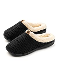 Roxoni Women's Fleece Lined Knit Winter Slippers; A Ladies Warming Indoor & Outdoor Clog with a Non Slip Rubber Sole