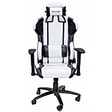 ViscoLogic® Series Cayenne Gaming Racing Style Swivel Office Chair (White & Black)