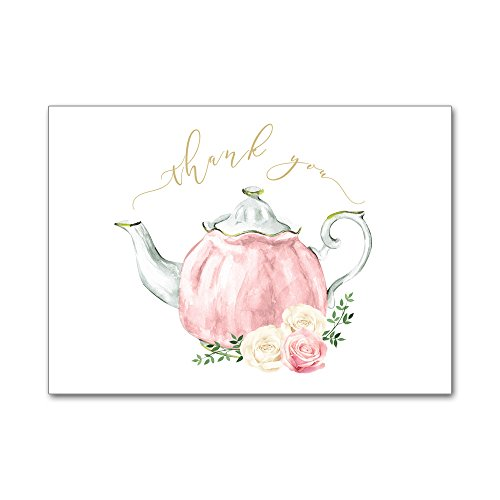 Set of 12 Thank You Notes and Envelopes Bridal Shower Wedding Watercolor Teapot Tea Party High Tea in Pink TYB8020