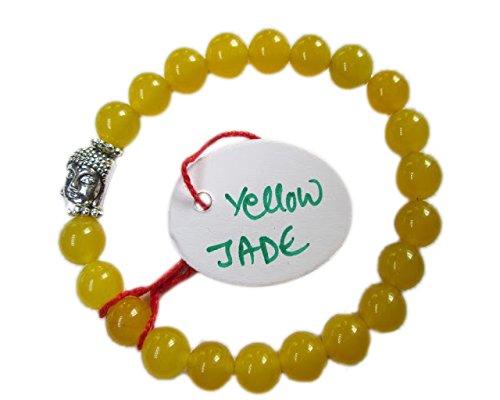 WholesaleGemShop - Yellow Jade 8 mm Bead Buddha (Yellow Jade Beaded Bracelet)