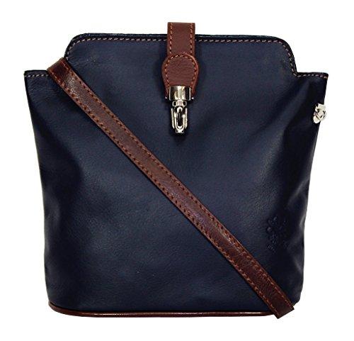 Soft or Genuine Effect Shoulder Handbag Ostrich Italian Leather Navy Bag Blue Silver Small or Body Cross pqqx5w4f