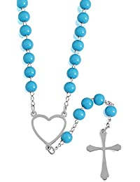 [321-0010-N-SLV/TRQ] Stainless Steel & Turquoise Rosary