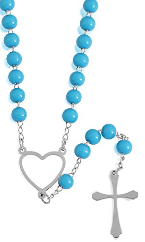 (EDFORCE Stainless Steel and Turquoise Rosary)