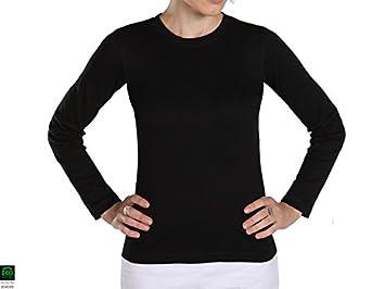 Camiseta de yoga Tara 100% algodón Bio Negro - Mango largo ...