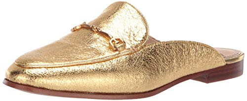 Sam Edelman Women's Linnie Mule, Bright Gold Metallic Leather, 6.5 M - Leather Lightweight Mules