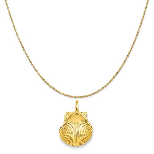 14k Yellow Gold Seashell Pendant on a 14K Yellow Gold Rope Chain Necklace, 16