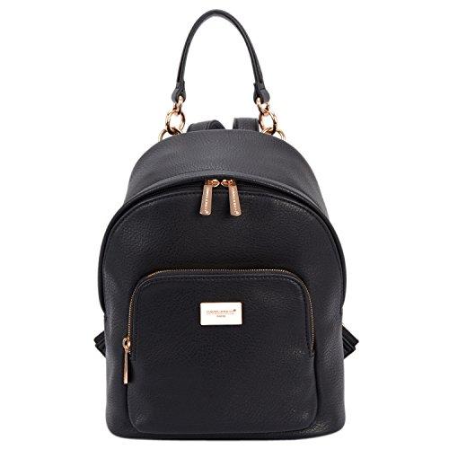 DAVID - JONES INTERNATIONAL Womens Black Vegan Leather Backpack Purse Top Handle Back Packs for Teens Girls by DAVID - JONES INTERNATIONAL.