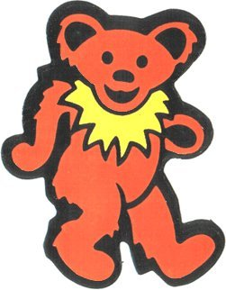Dancing Bear - Orange with Yellow Necklace - Static Cling Sticker