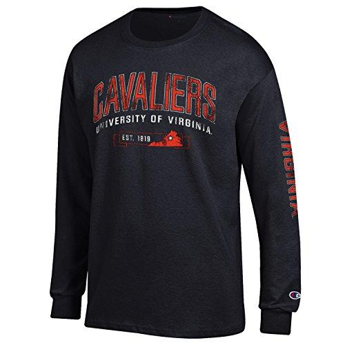 Champion NCAA Virginia Cavaliers Men's Men's Fair Catch Long Sleeve T-Shirt, Small, Navy (Screen Jersey Classic Print)