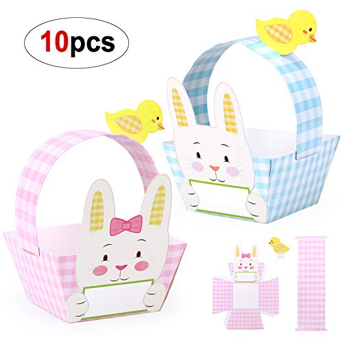Konsait DIY Easter Card Craft Baskets, Easter Party Favors Gift Baskets for Kids Girls Boys to Decorate and Fill with Mini Easter Eggs, Candy, Chicks, Sweets or Easter Gifts (Pack of 10) ()