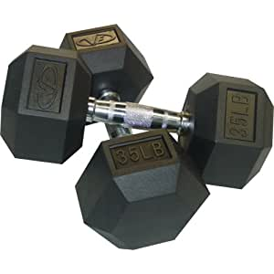Valor Fitness Rubber Hex Dumbbell's Pair, 8-Pound