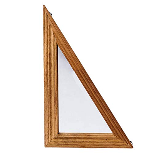 YANZHEN Mirror Wall-Mounted Retro Geometry Natural Wood Grain Wooden Frame Dressing European Style Log, 3 Styles (Color : Right Triangle)