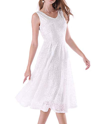 Noctflos Summer White Flora Lace Midi Swing Dress for Women Wedding Party Reception Cocktai, ()