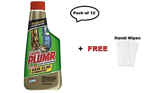 Liquid-Plumr Pro-Strength Clog Remover, Hair Clog Eliminator, 16 oz Pack of 12 + Handi Cleaning Wipes by Liquid-Plumr (Image #4)