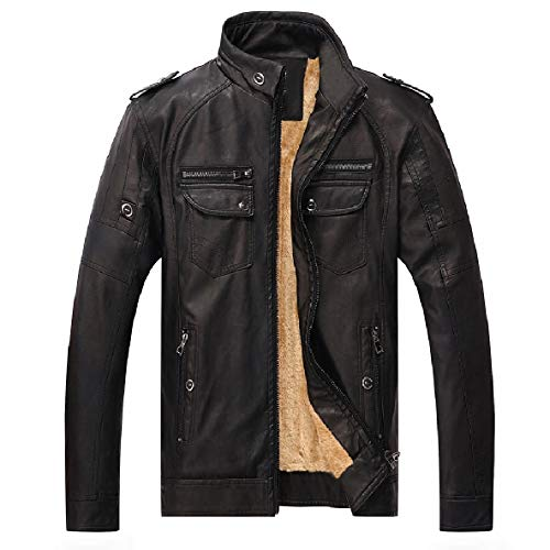 XINHEO Men Plus Velvet Retro Coats Stand Collar Washed Faux Leather Jackets Black