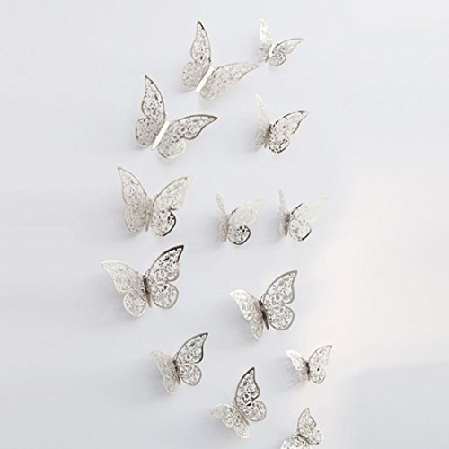 Wall Sticker ,Art Sticker Home Décor Usstore 12PC 3D Hollow Butterfly Fridge Decoration For Bedroom living bathroom House Office Windows Decor (F)