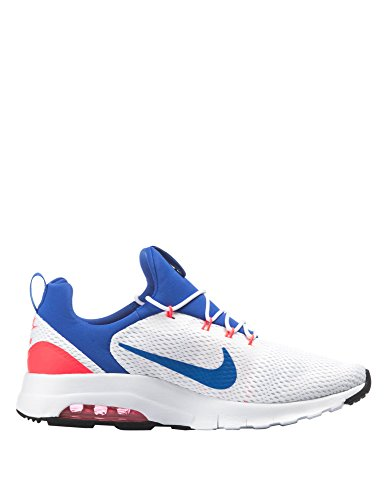 Nike Mens Air Max Motion Racer Mens Scarpe Da Ginnastica Bianche-blu Sintetico Bianco / Blu Oltremare-solare Rosso-off Bianco