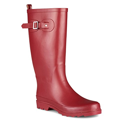 Chillipop Women Rainboots with Adustable Buckle Strap Red sw2KI