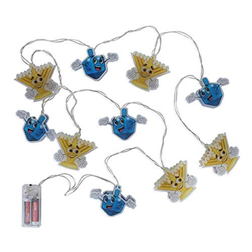 Hanukkah Character String Lights Decorations. Light up Chanukah Menorah Candles & Dreidel. -