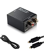 Digital To Analog Audio Converter, Digital Toslink Optical To Analog Stereo Audio L/R 2RCA Adapter With Optical Cable Usb Power