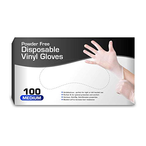 Vinyl Gloves, Disposable Gloves, Comfortable, Powder Free, Latex Free | 100 Pcs Medium