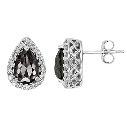 Pear Shape Earrings for Women with Black Diamond and White Diamond Halo, 14k White Gold 2.00ct total Weight - Diamond Pear Shape Earrings