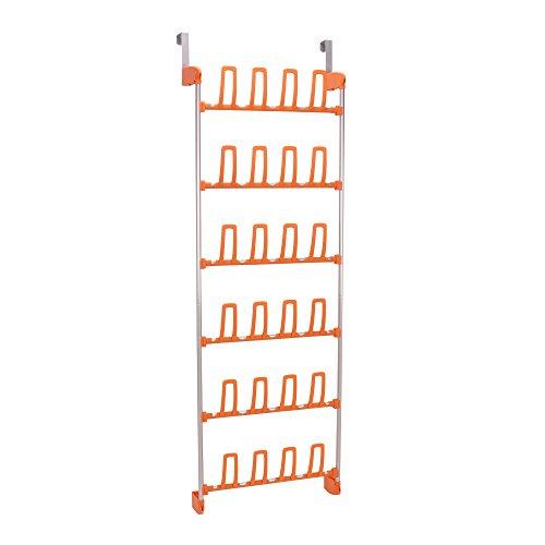 Household Essentials 2143-1 Over the Door Shoe Organizer - Space Saving Shoe Rack - Orange