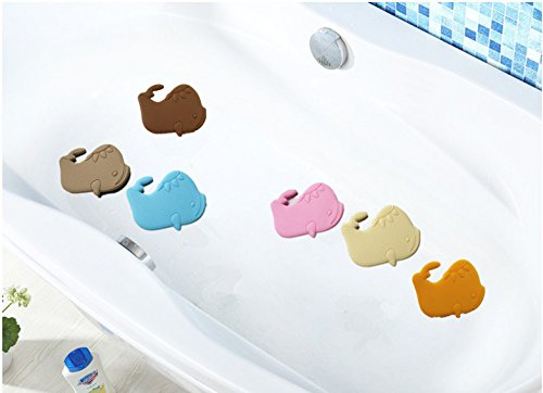 Clean Eco-Friendly Silicone Non Slip Kids Treads Baby Bath Tub Mat Shower Stickers Appliques Decals, Anti Mold Mildew Bacterial 6 Large 6