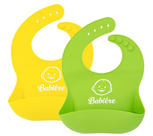 Waterproof Silicone Bib with Snaps and Food Catcher Pocket, Soft Baby Bibs fit Infants and Toddlers, Green and Yellow, 2 Pack](Bibs With Food Catcher)