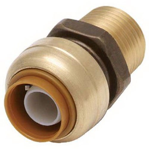 SharkBite U120LFA Straight Connector Plumbing, Male 1/2 in, MNPT, PEX Fittings, Push-to-Connect, Copper, CPVC, 0.5 x 0.5 ()