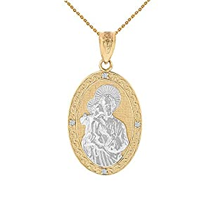 10k Two-Tone Gold Saint Joseph Diamond Oval Medal Pendant Necklace (1