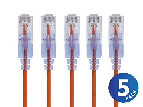 (Monoprice Cat6A Ethernet Network Patch Cable - 20 Feet - Orange | 5-Pack, 10G - SlimRun)