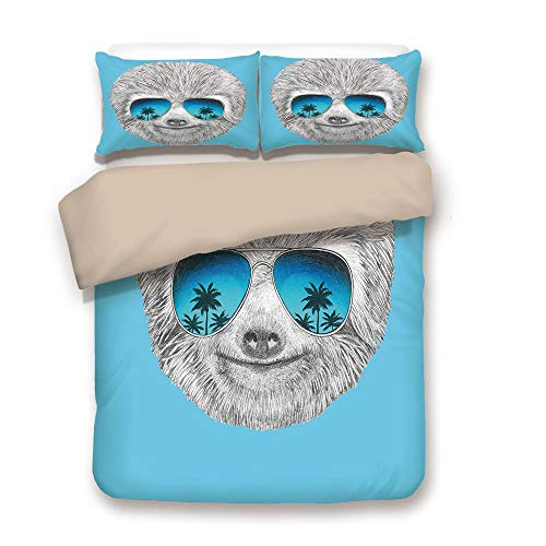 iPrint Duvet Cover Set,Back of Khaki,Sloth,Portrait of Sloth with Mirror Sunglasses Exotic Palm Trees Hawaiian Beach Hipster,Grey Blue Aqua,Decorative 3 Pcs Bedding Set by 2 Pillow Shams,Twin (Mirror Portrait Dresser)