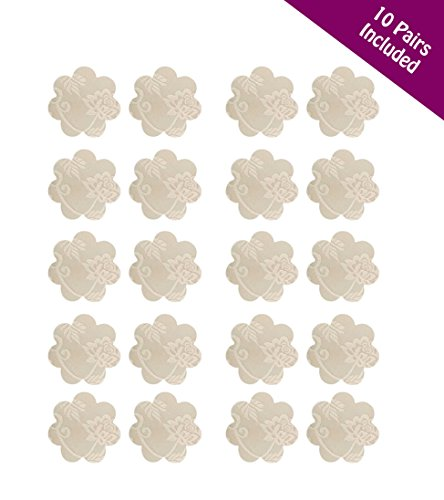 10 Pack Disposable Nude Adhesive Nipple Cover Lace Flower Petal Pasties