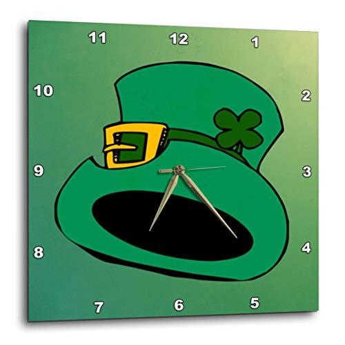 - 3dRose dpp_37394_1 Irish Green Top Hat-Wall Clock, 10 by 10-Inch