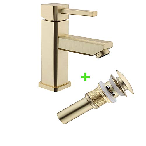 (Gold Single Handle Bathroom Faucet One Hole, Single Lever Lavatory Vanity Faucet, Basin Sink Bath Faucet mixer tap with pop up drain, Etel Y6301 (Brushed Gold))