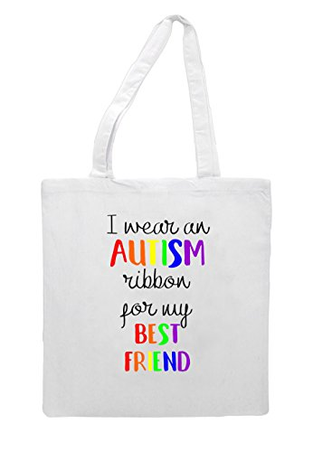 For An My Ribbon Bag White Tote Wear I Autism Best Friend Shopper 6xwpZp