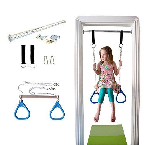 (DreamGYM Indoor Swing Trapeze Bar and Gymnastic Rings Combo for Doorway Gym - Blue)