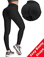 Msicyness Butt Lift Yoga Pants Hight Waist Workout Booty Leggings Textured Scrunch Bum Ruched Tights (Black,L)
