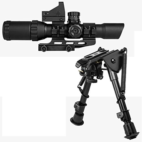 M1SURPLUS Optics Enhancement Kit w/Trinity 1-4x28 Rifle Scope (Small Cross Reticle) + Backup Dot Sight + Quick Deploy Tactical Bipod - Fits Ruger SR22 Precision Rifle Mossberg 715t Patrol Rifles