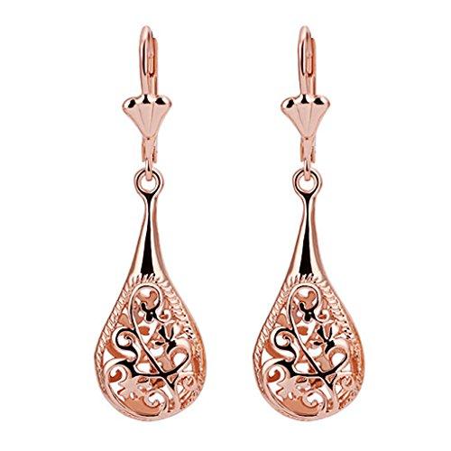 18K Rose Gold Plated Filigree Lever Back Teardrop Drop Dangle Earrings L130