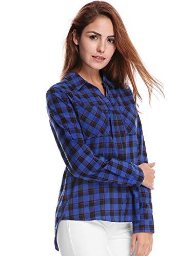 Blau Casual Revers Simple Fashion Asymtrique Tops Office Printemps Shirt Royal Blouse Haut Chic Boutonnage Elgante Vintage Automne Chemise Manches Costume Femme Longues Classique Carreaux vSzx6gq