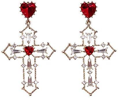 Perfecto clásico encanto de los pendientes de plata de la aguja de la Cruz Roja del oído colgante Amar orejeras pendientes del corazón atmósfera de la manera diamante Pendientes Exquisitos y Encantado