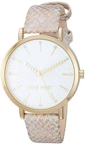 Nine West Women's Crystal Accented Gold-Tone and Tan Snake Patterned Strap Watch, NW/2382GPTN (Watch Snake)