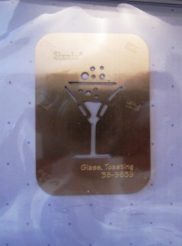 Simple Impressions Embossing Folder Brass Stencil - Toasting Glass - Sizzix Simple Impressions Folder