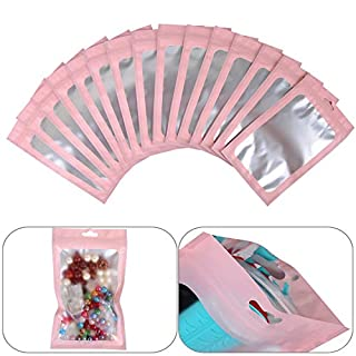 100-pack resealable mylar ziplock bags with front window Smell Proof bag packaging pouch bag for lip gloss eyelash cookies sample food jewelry electronics |flat|cute|(Pink, 4.72×7.87 inches)