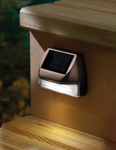 Moonrays 95028 Mini Solar Deck Light Wall Mount Sconce, Rectangle