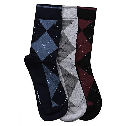 Men's Classic Argyle Formal Multicoloured Crew Socks- pack of 3