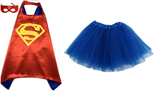 [Superhero or Princess TUTU, CAPE, MASK SET COSTUME - Kids Childrens Halloween (Red Superman - Red &] (Super Easy Halloween Costumes For Kids)